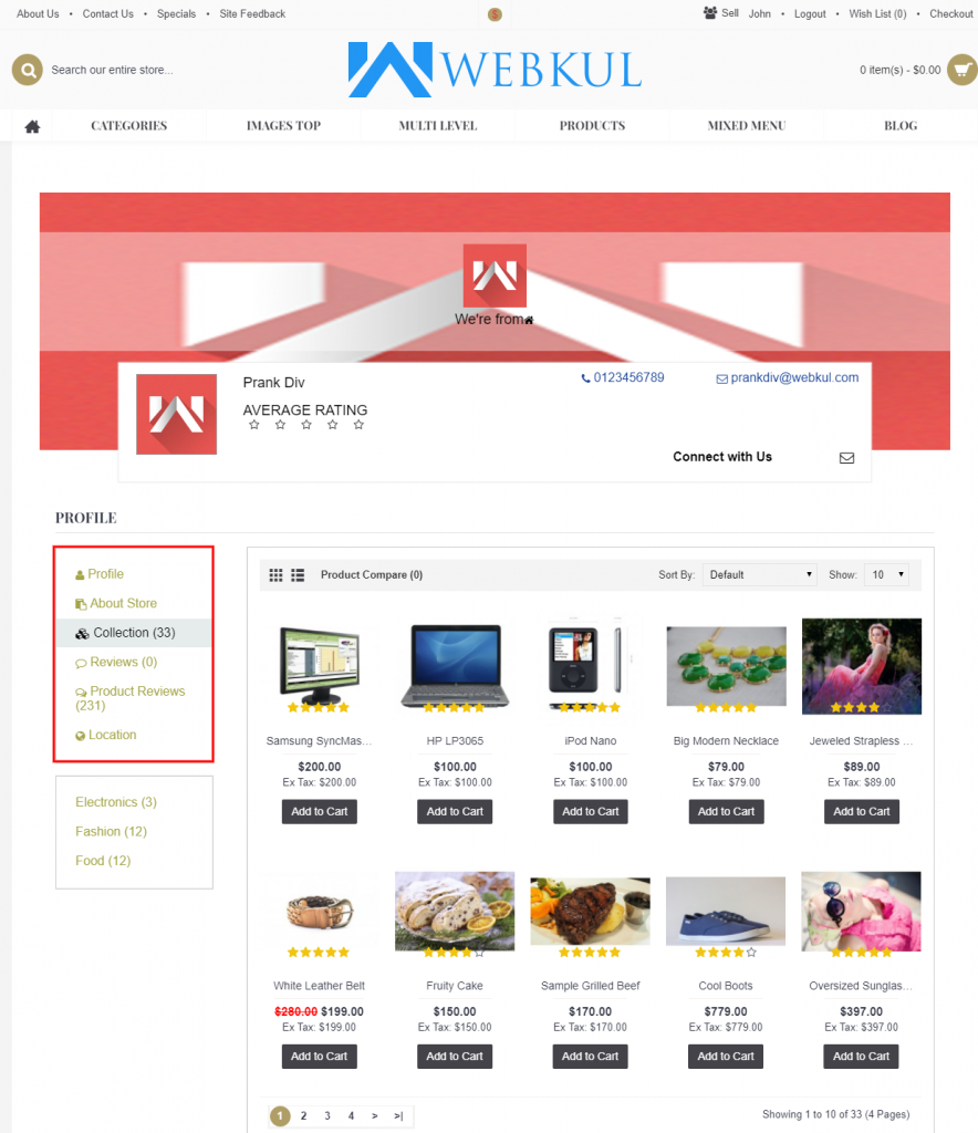 seller page front end view