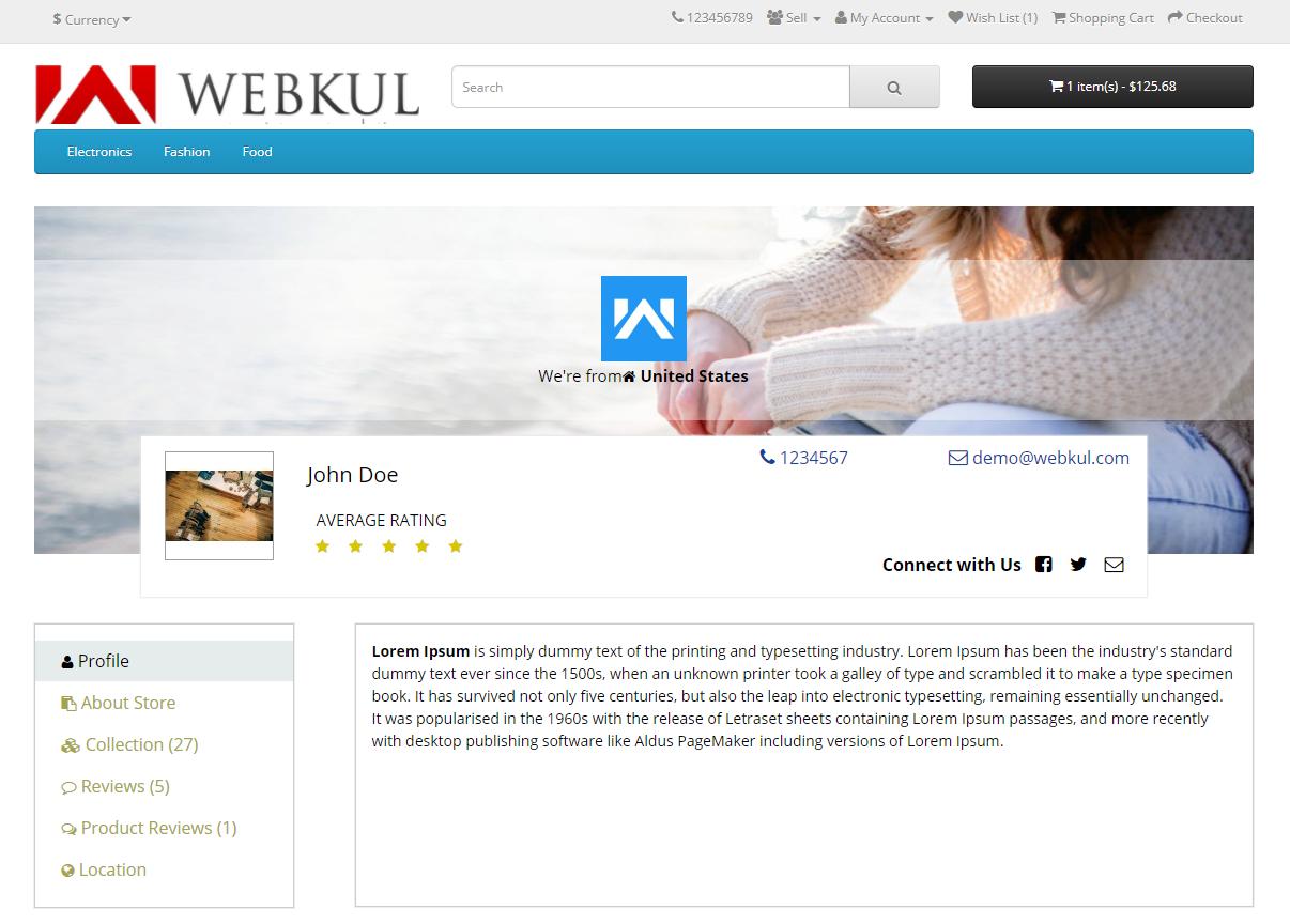 opencart-seller profile