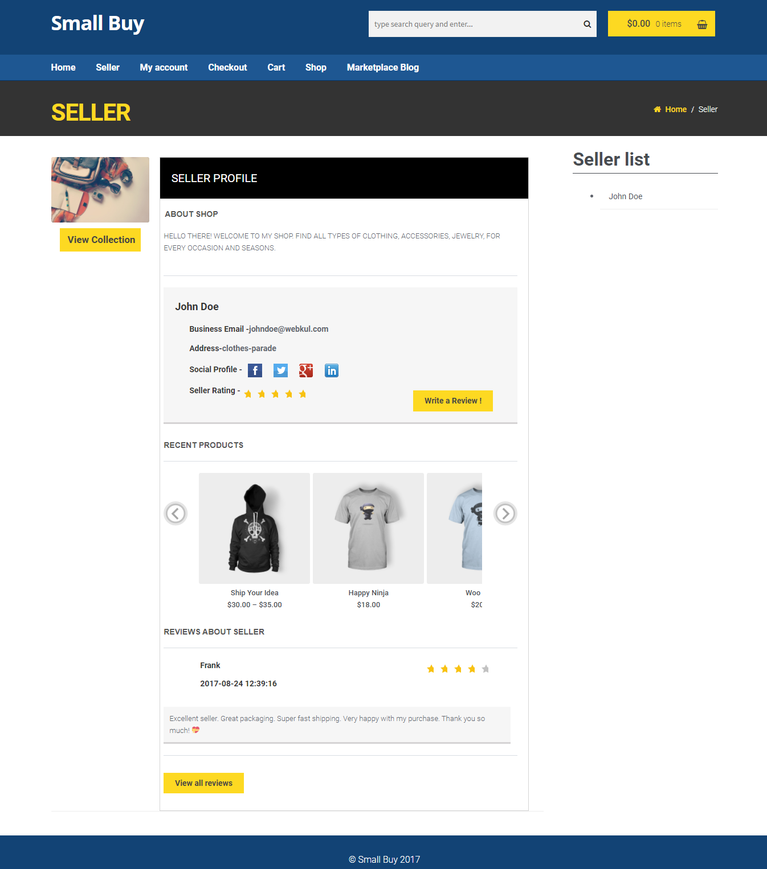 woocommerce-seller profile
