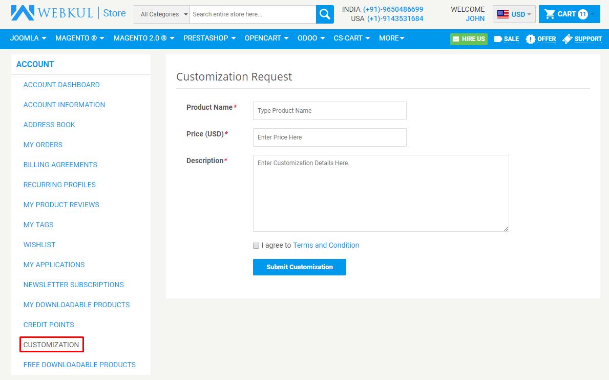 My Account - Customization