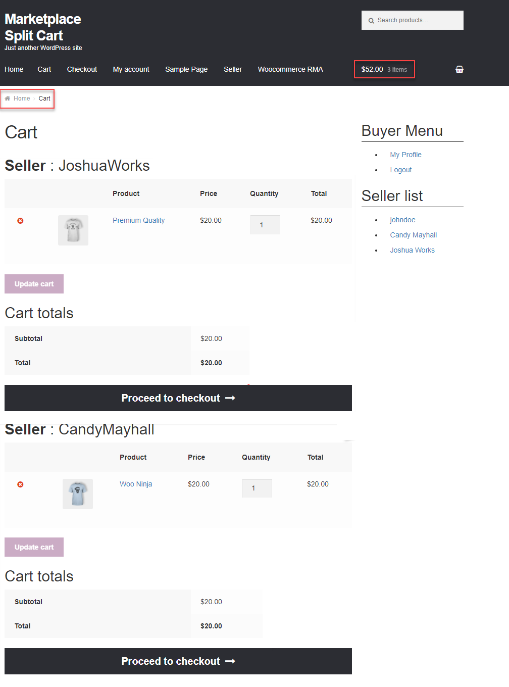 cart page sellers proceed to checkout