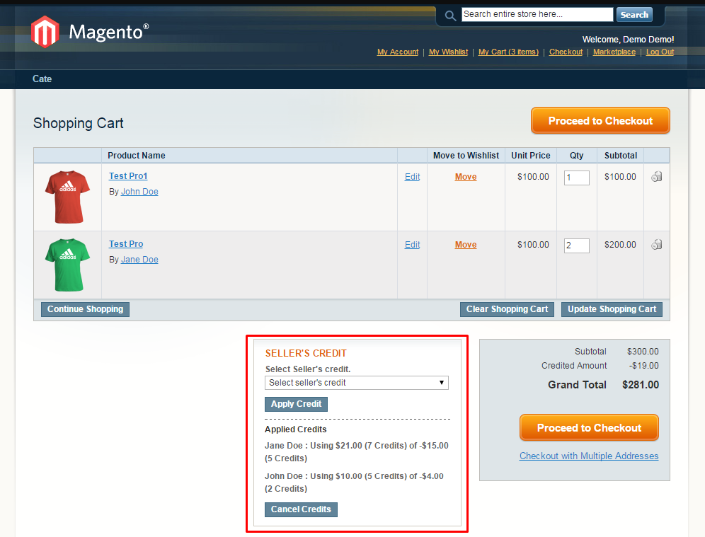 Magento Marketplace Seller Credit Management System