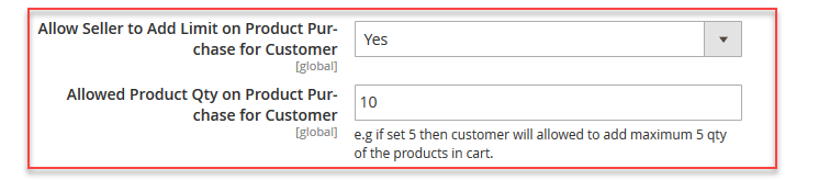 customer's product purchase limit