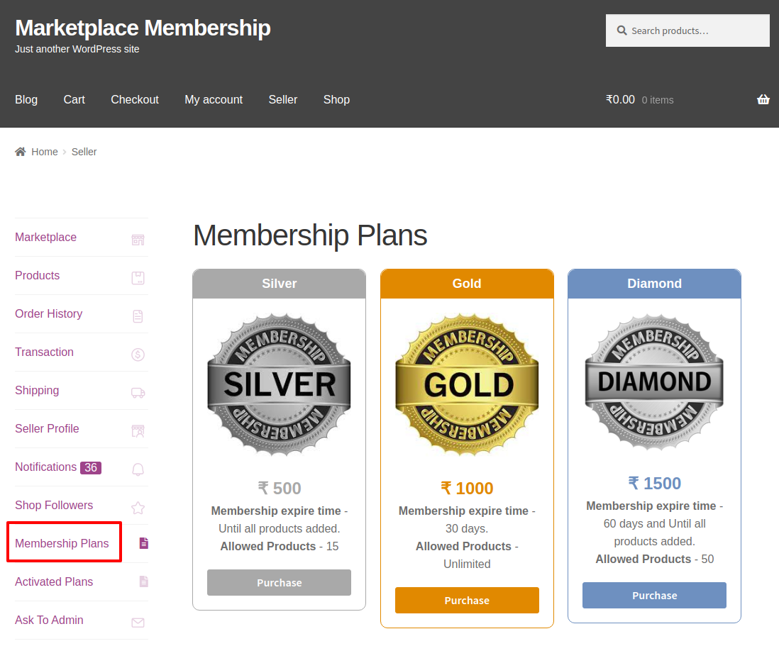 webkul-marketplace-seller-membership-look-plans