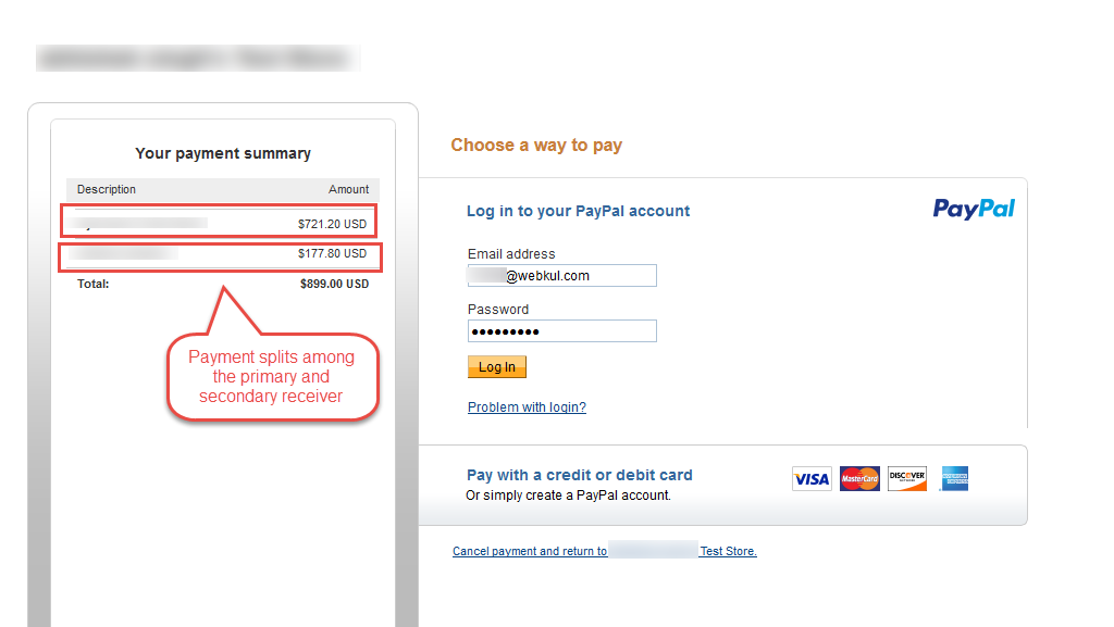 Paypal Payment adaptive gateway