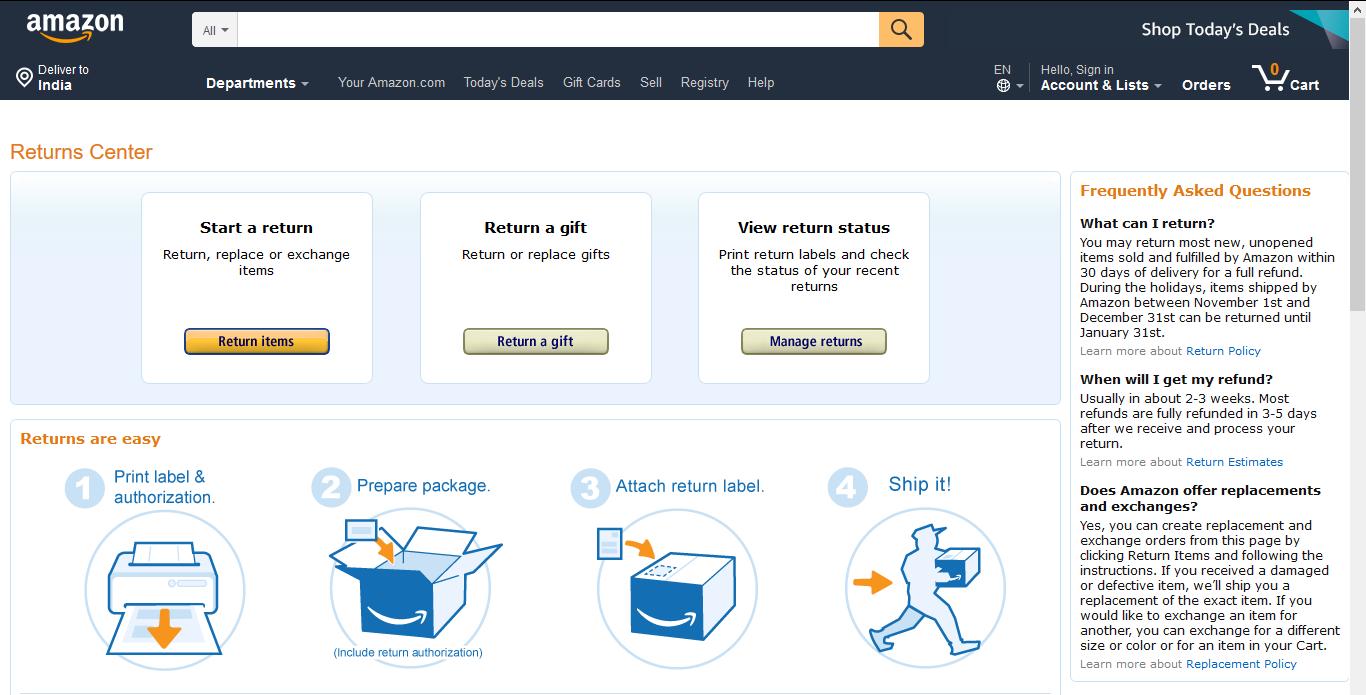 Returns Section Amazon