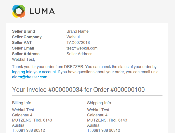 drezzer seller data in invoice mail