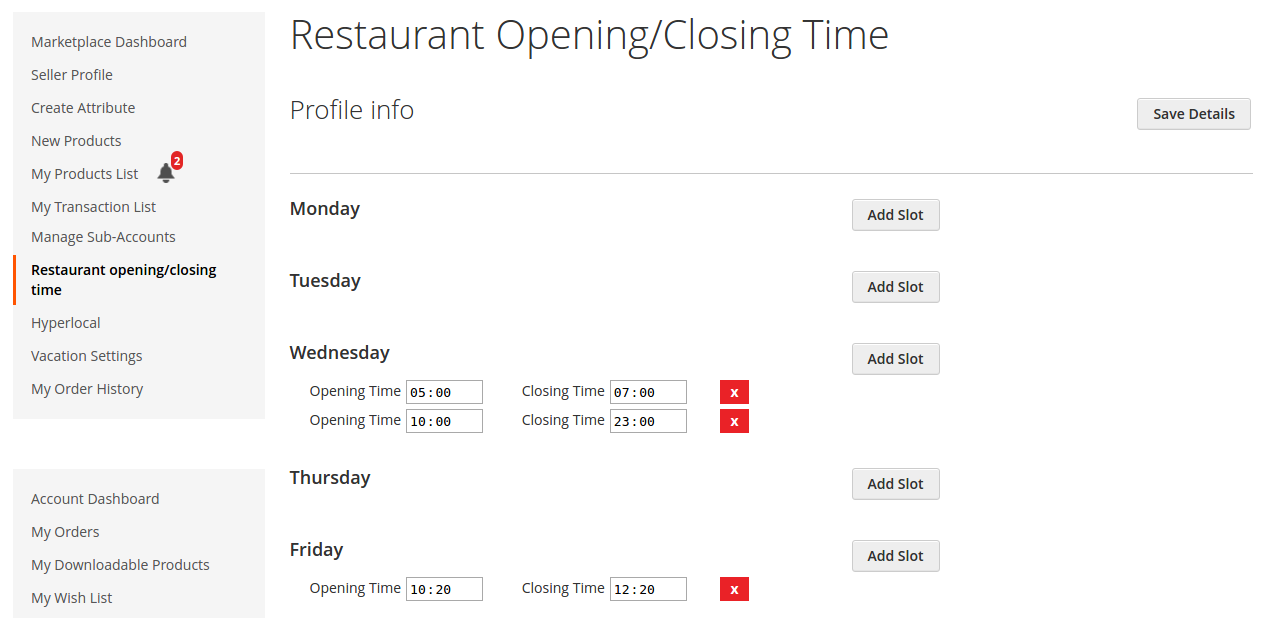 restaurant timings