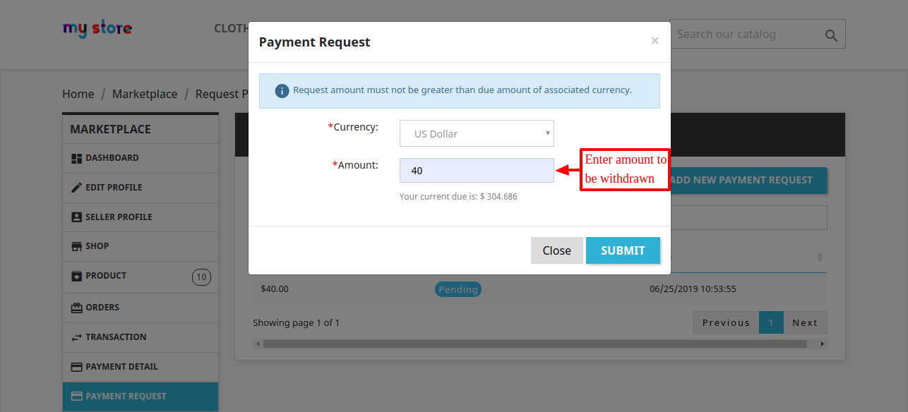 Enter amount that seller wish to withdraw