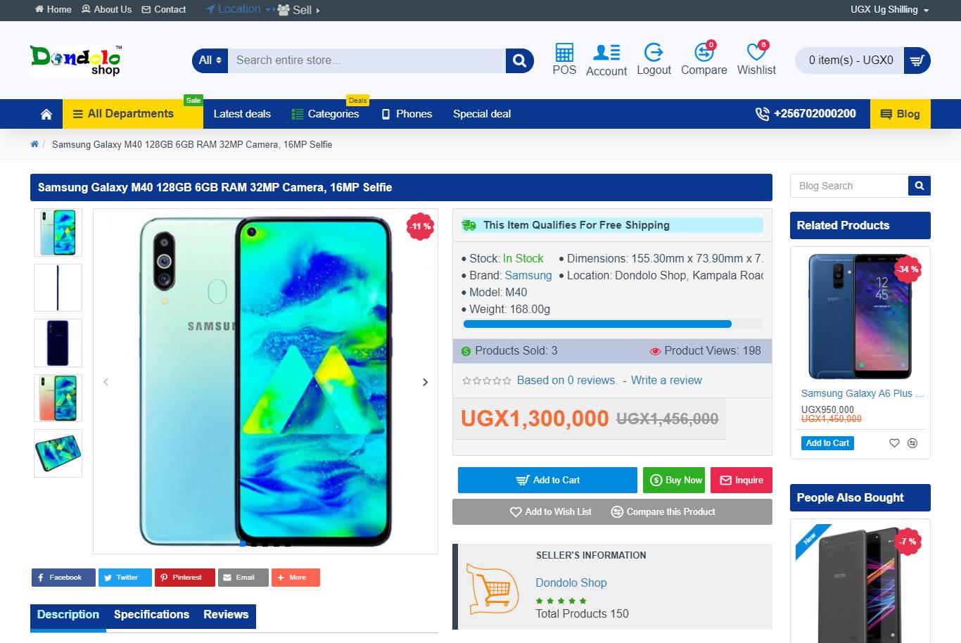Dondolo Uganda Ecommerce Product Page