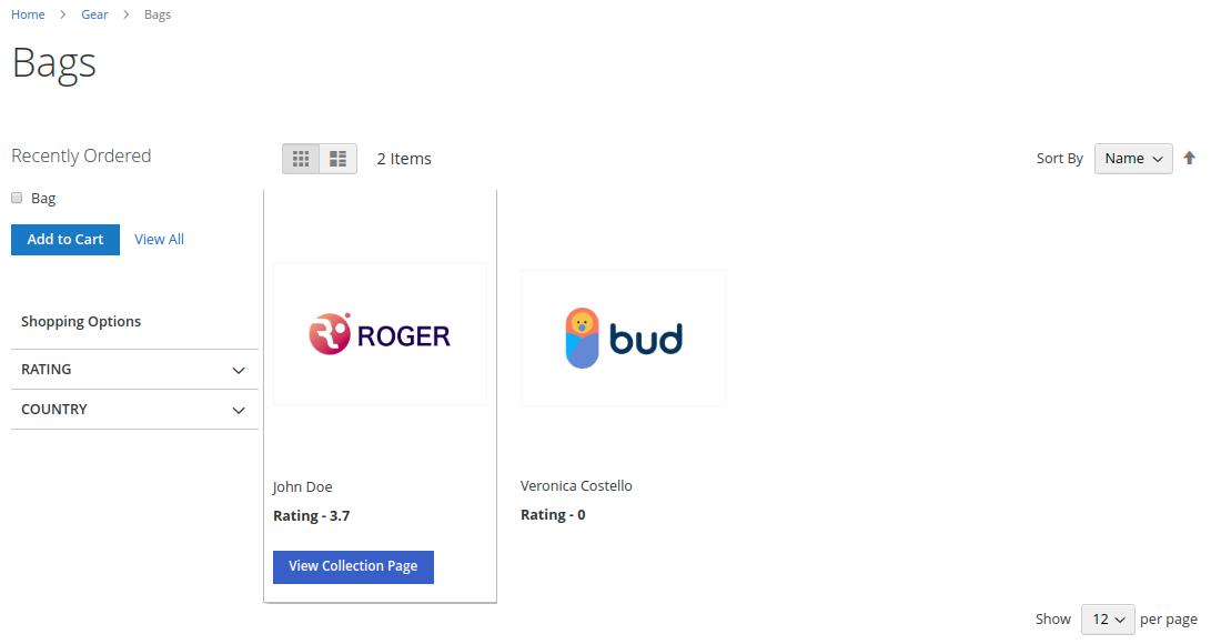 Magento 2 Vendors Category Page