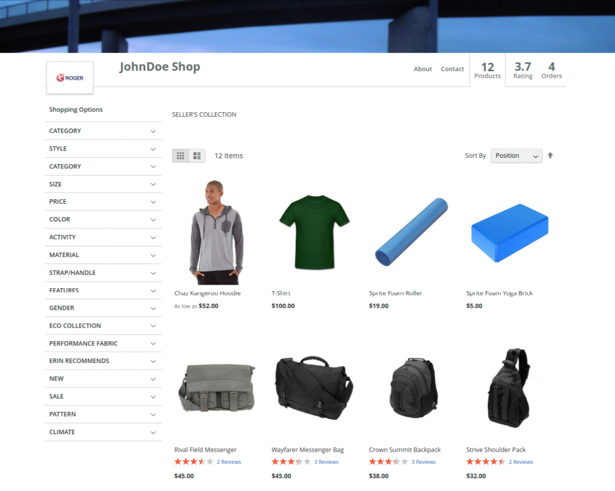Magento 2 Vendors Category Collection Page
