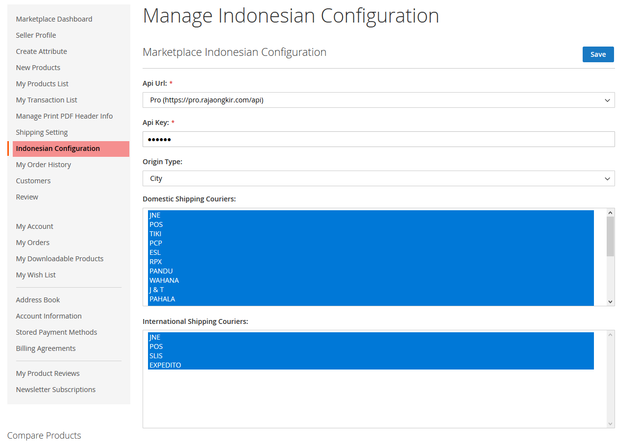 Marketplace Indonesian Shipping-configuration