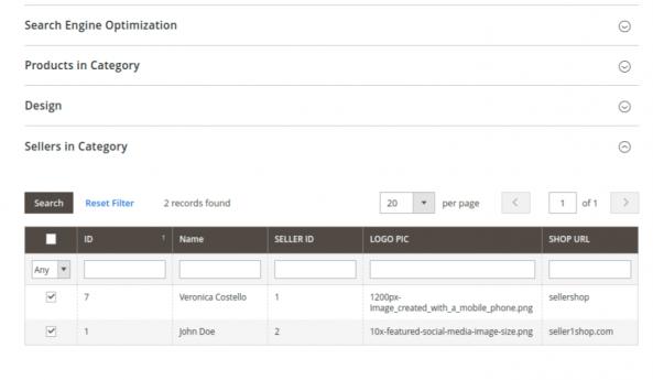 Magento 2 Vendors Category Page Admin