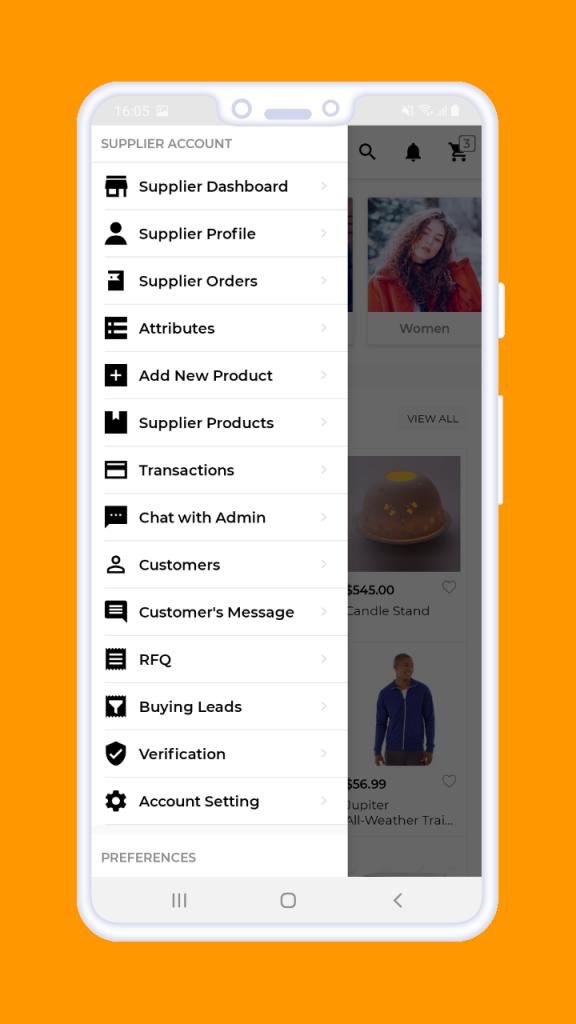 Magento 2 B2B Vendor Mobile App supplier menu
