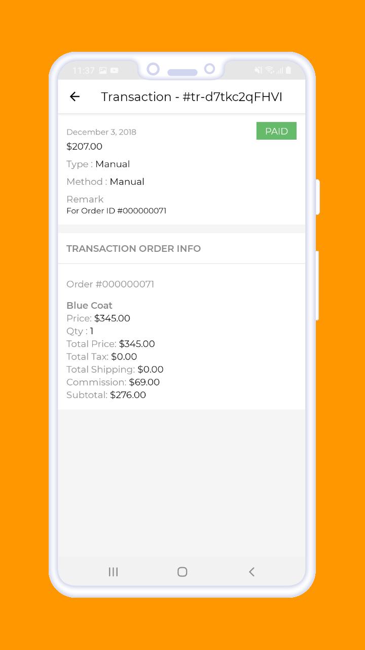 Magento 2 B2B Vendor Mobile App transaction