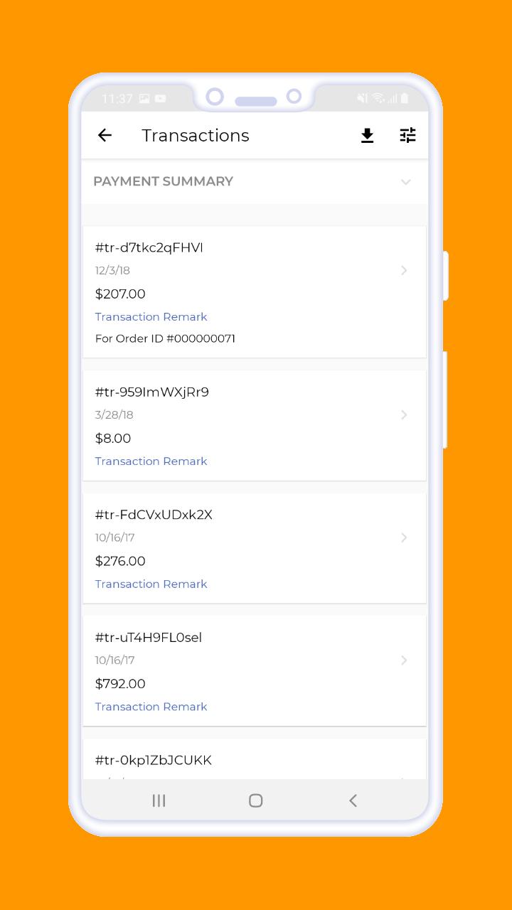 Magento 2 B2B Vendor Mobile App payment summery