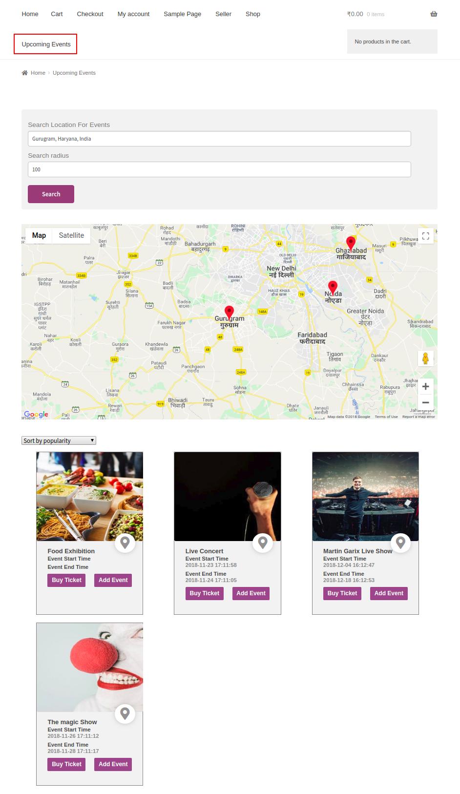search event location