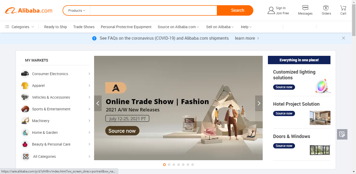 Alibaba Home Page